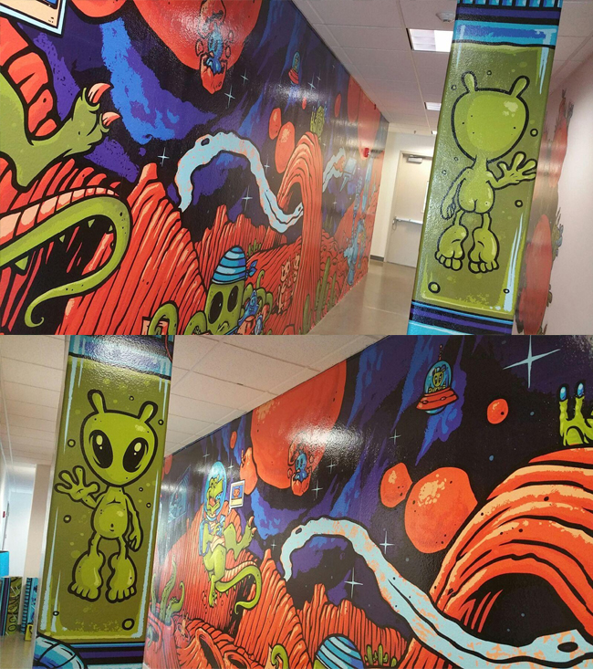 Cisco wall graphics creative direction Judi Oyama art by Jimbo Phillips